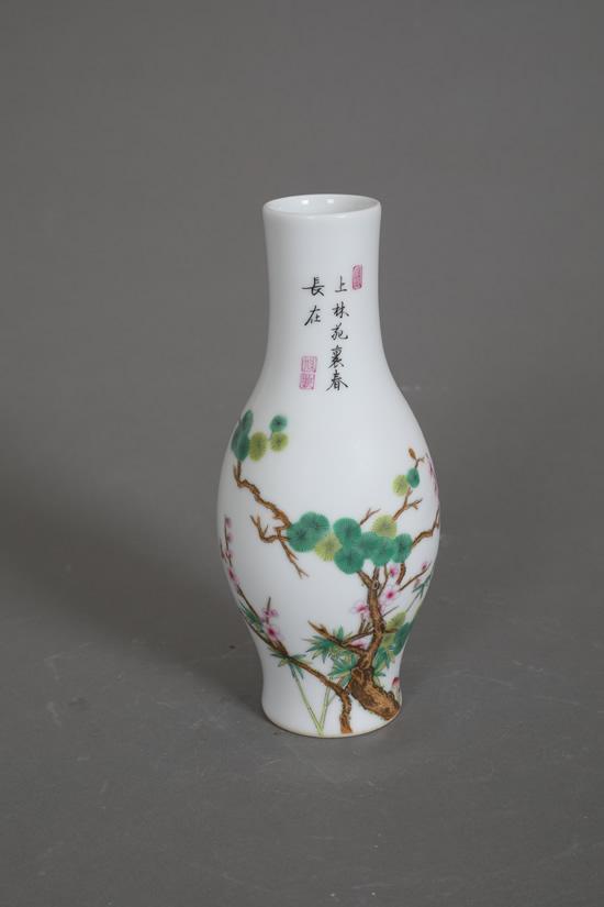 仿雍正珐琅彩30件松竹梅橄榄瓶